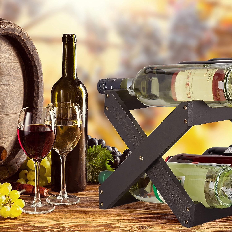 Relaxdays Porta bottiglie vino bamb/ù a forma di X 6 bottiglie cantinetta piccola pieghevole HLP 22x36x20 cm nero