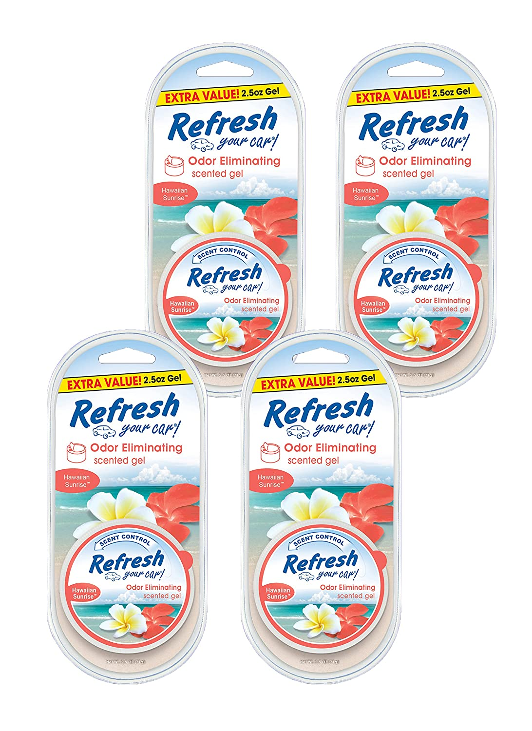 Refresh Your Car 84919 Scented Gel Can 4-Pack 2.5 oz Hawaiian Sunrise