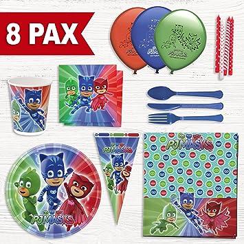 Party Fiesta Pack cumpleaños PJ Mask para 8 Personas : Amazon ...
