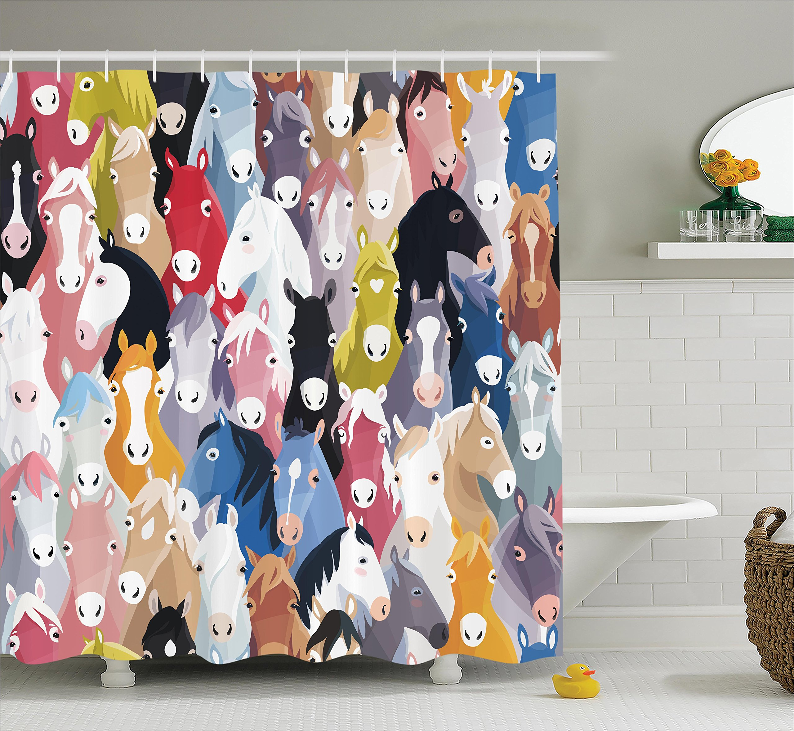 Horses Shower Curtain Set Abstract Decor by Ambesonne, Pattern with Colourful Cartoon Horses Pony Childhood Childish Artwork Pattern, Fabric Bathroom Accessories, With Hooks, Pink Blue Green