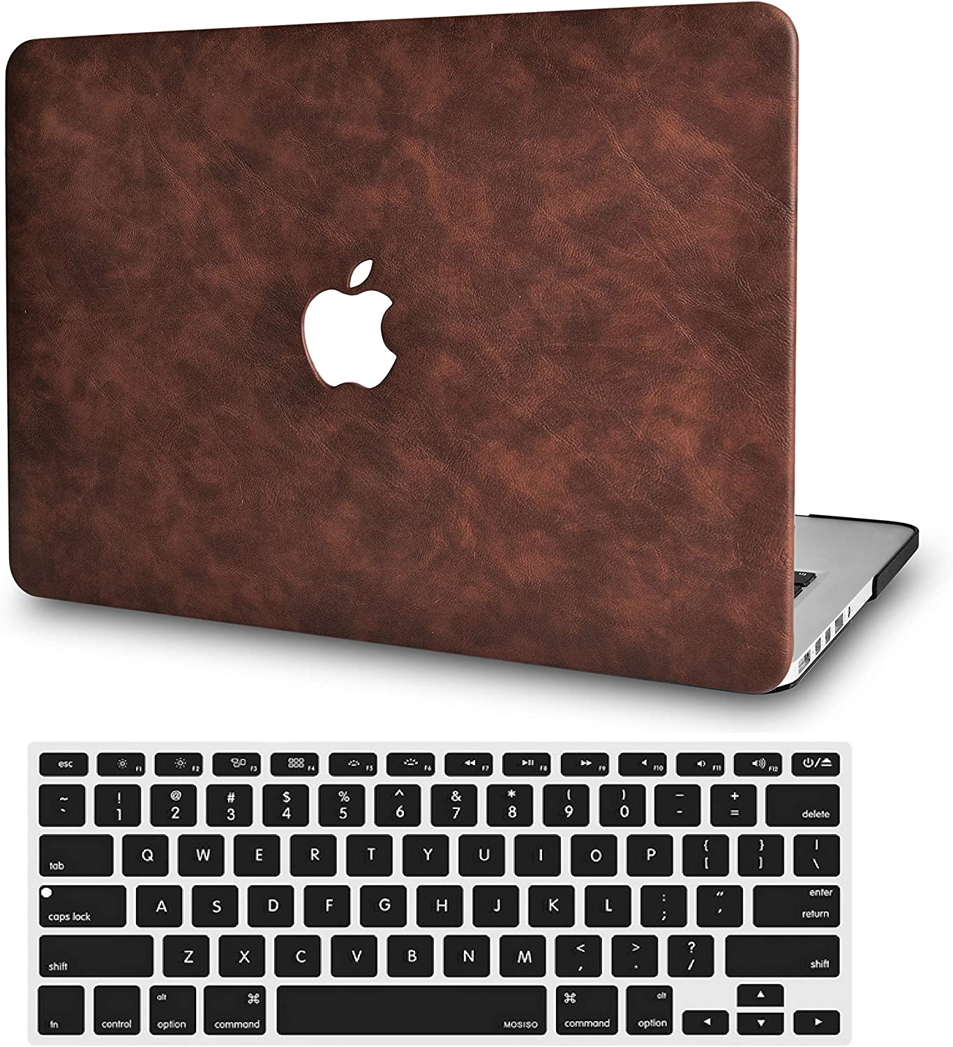 LuvCase 2 in 1 Laptop Case for MacBook Air 13 Inch A1466/A1369 (No Touch ID)(2010-2017) Leather Hard Shell Cover & Keyboard Cover (Brown Cow Leather)