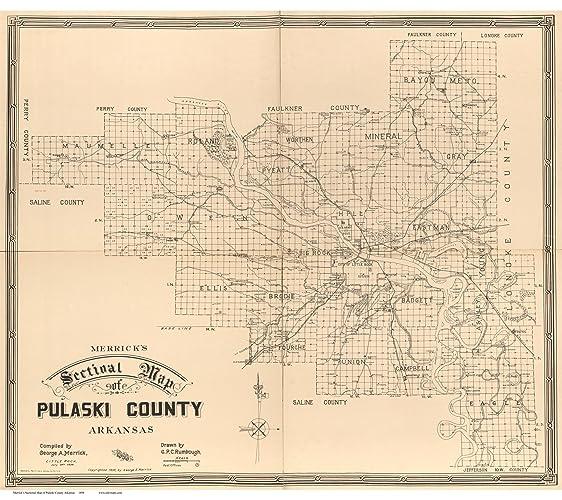 Amazon Com Pulaski County Arkansas 1898 Wall Map With Homeowner