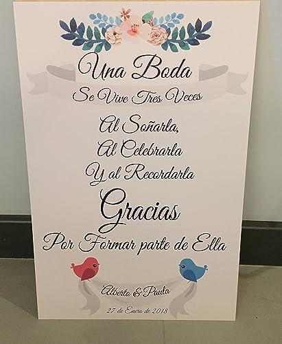 Cartel Bienvenidos a nuestra Boda, una boda se vive tres ...