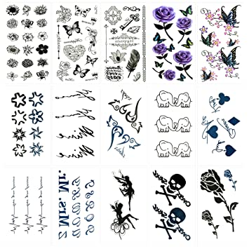 b00d2aed7 Amazon.com : Oottati 15 Sheets Small Cute Temporary Tattoos Flower Elephant  Butterfly Elephant Angle Skull Rose : Beauty