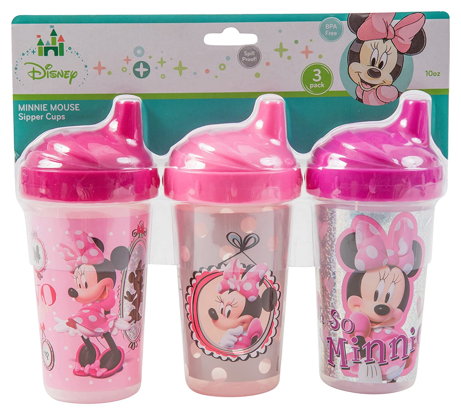 Disney Minnie Mouse Sippy Cups, Pink, 3 Count FD50458-000-PNK