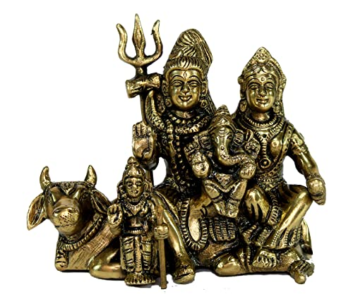 StonKraft Ideal Gift – Brass Shiv Shiva Parivar Murti Idol Statue Family Sculpture 4.5 Brass Decorative Worship Idol