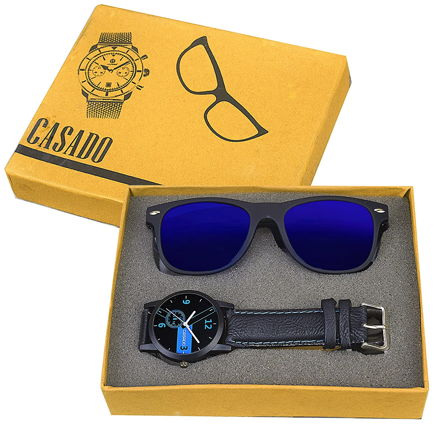 CASADO BLACK SLIM Series Round Analog Wrist Watch and 1 Blue Reflector Wayfraer Sunglasses for Men's AND Boy's
