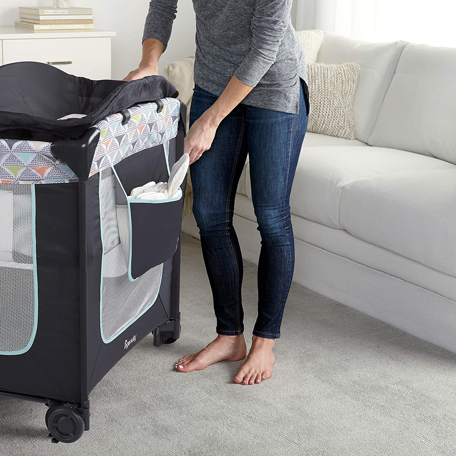Bryant Ingenuity Smart and Simple Portable Packable Playard with Changing Table