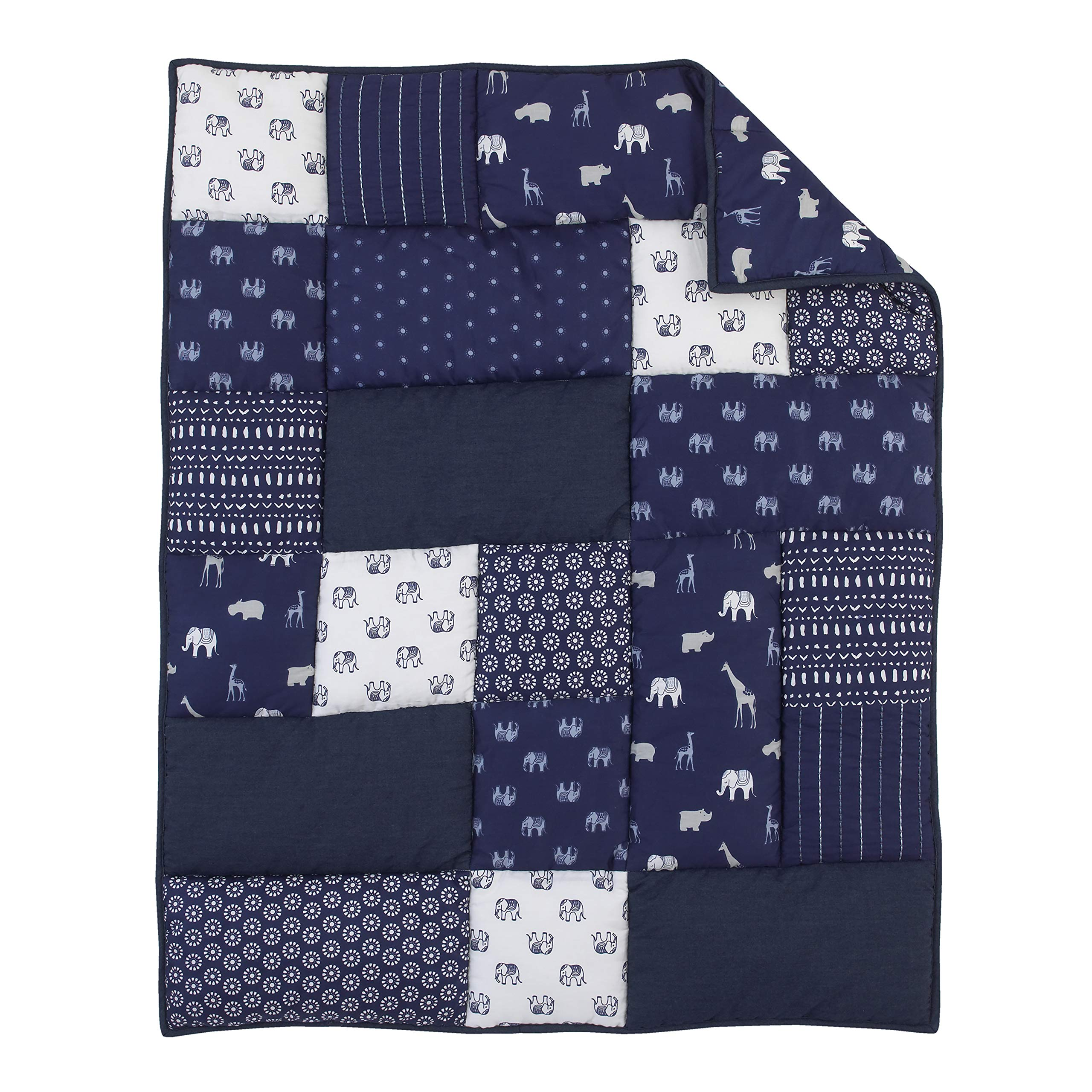 NoJo Serendipity - Indigo Animal 100% Cotton Comforter, Navy, Light Blue, Grey, Ivory by NoJo