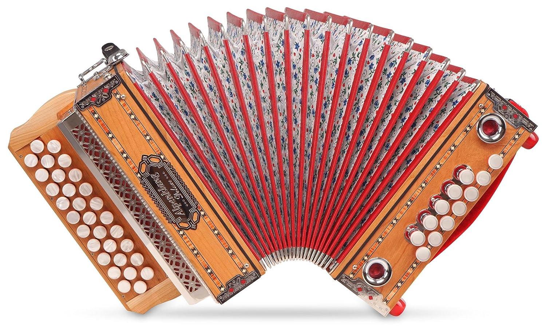 Alpenklang Mini Pro Harmonika Massiv (G-C-F Stimmung, 31 Knopftasten, 11 Helikon-Bässe, inkl. Rucksack-Case) 11 Helikon-Bässe