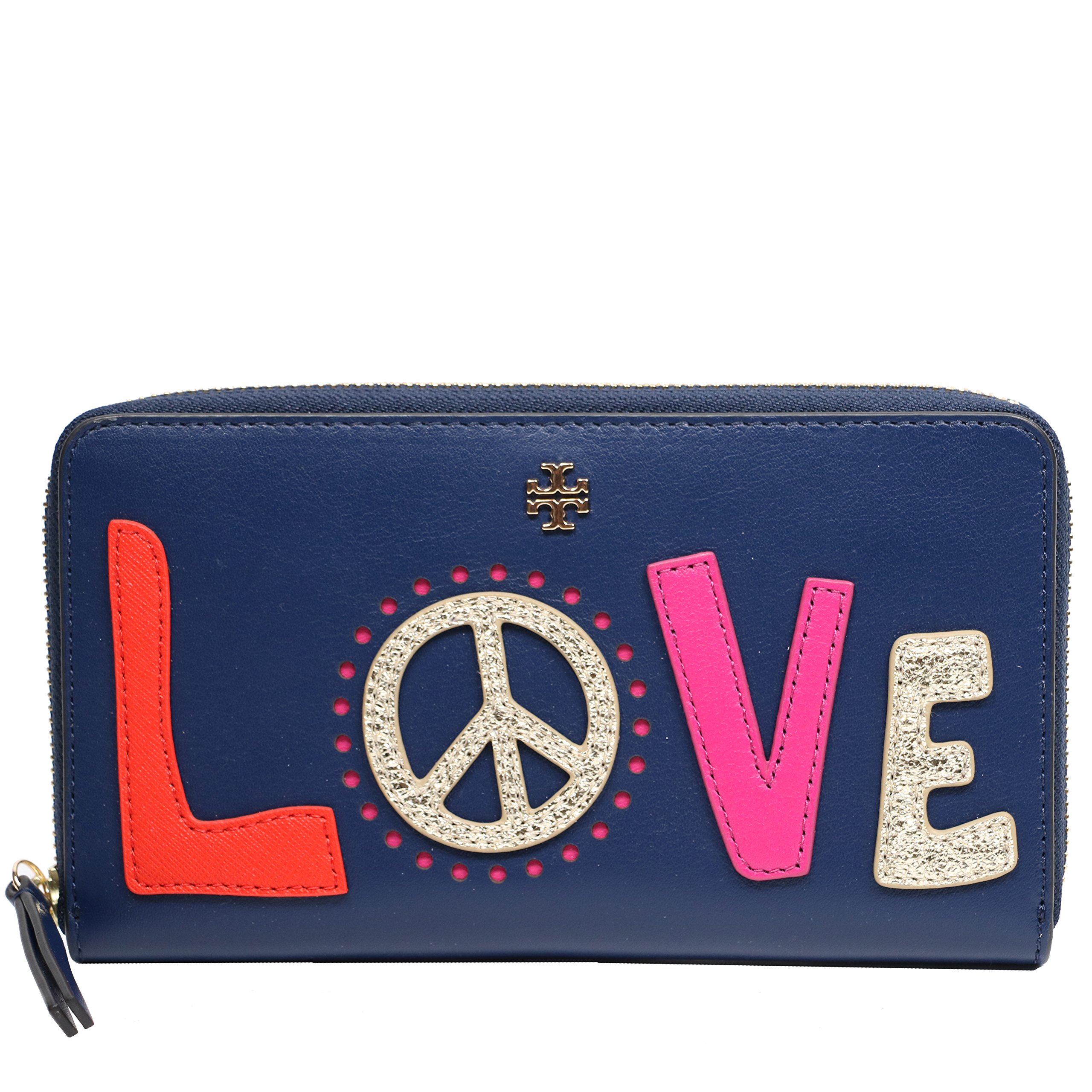Tory Burch Wallet Leather Continental Zip Love (Navy Sea)