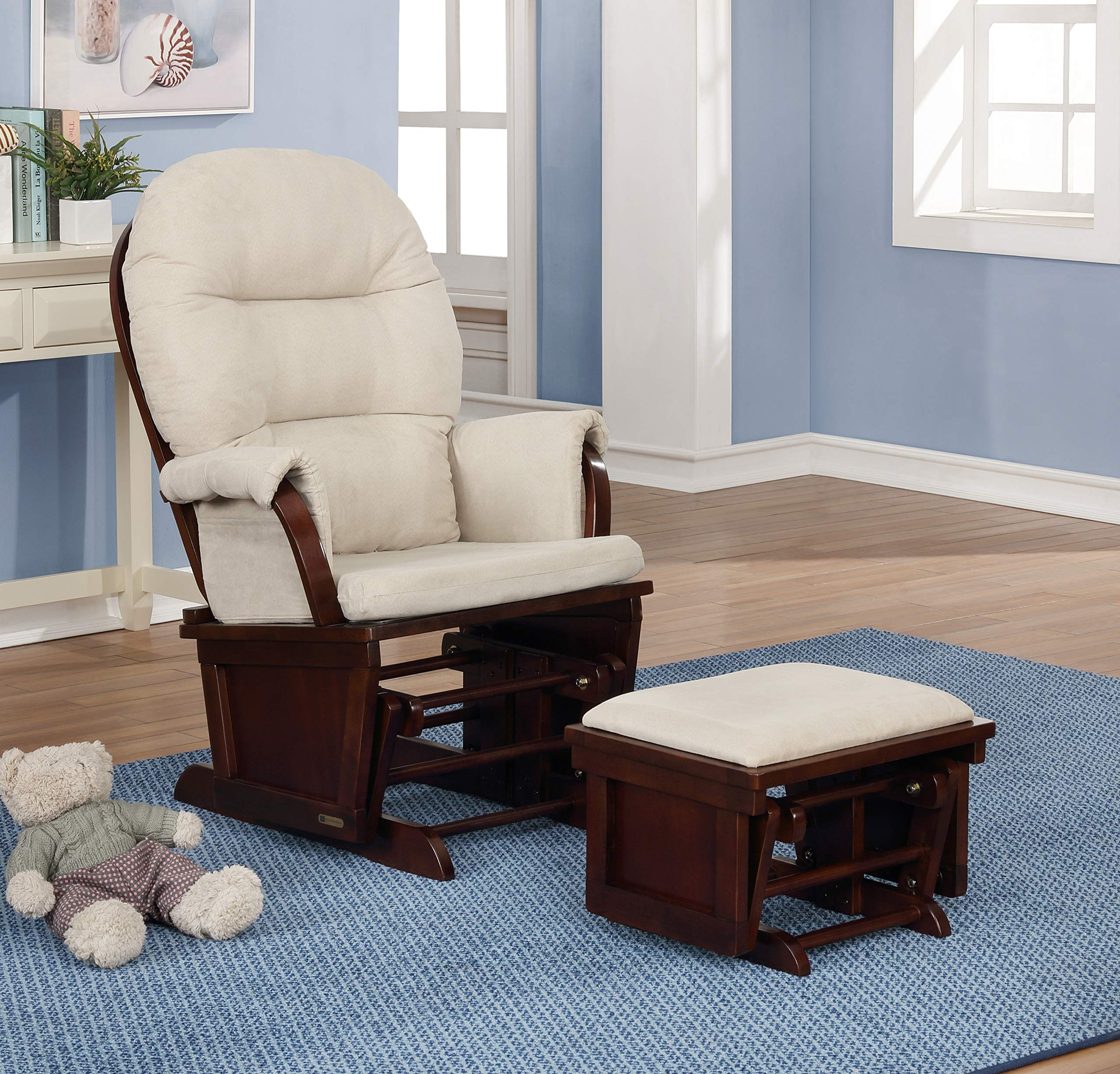 Lennox Furniture Aiden Glider Chair and Ottoman Combo, Espresso/Beige by lennox furniture