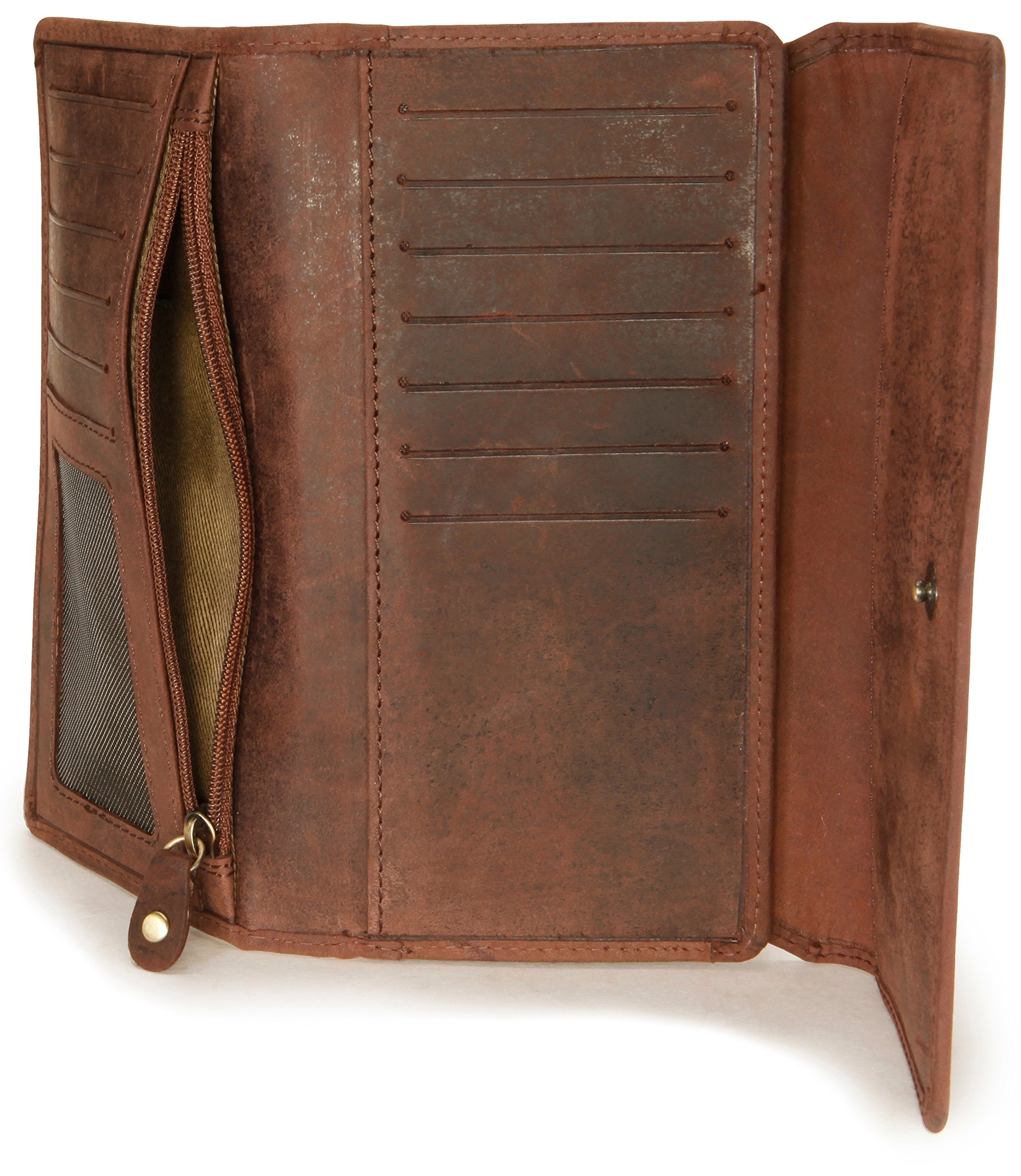 LEABAGS Charlotte genuine buffalo leather women's wallet in vintage style - Nutmeg by LEABAGS (Image #8)