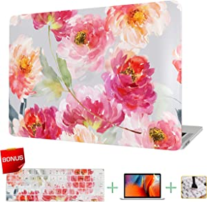 VAESIDA MacBook Air 13 Inch Case, Floral Laptop Cover & Keyboard Cover & Screen Protector ONLY for Mac Air 13 Release 2018-2020 (New Version Retina & Touch ID Model: A1932/A2179) (Watercolor Flowers)