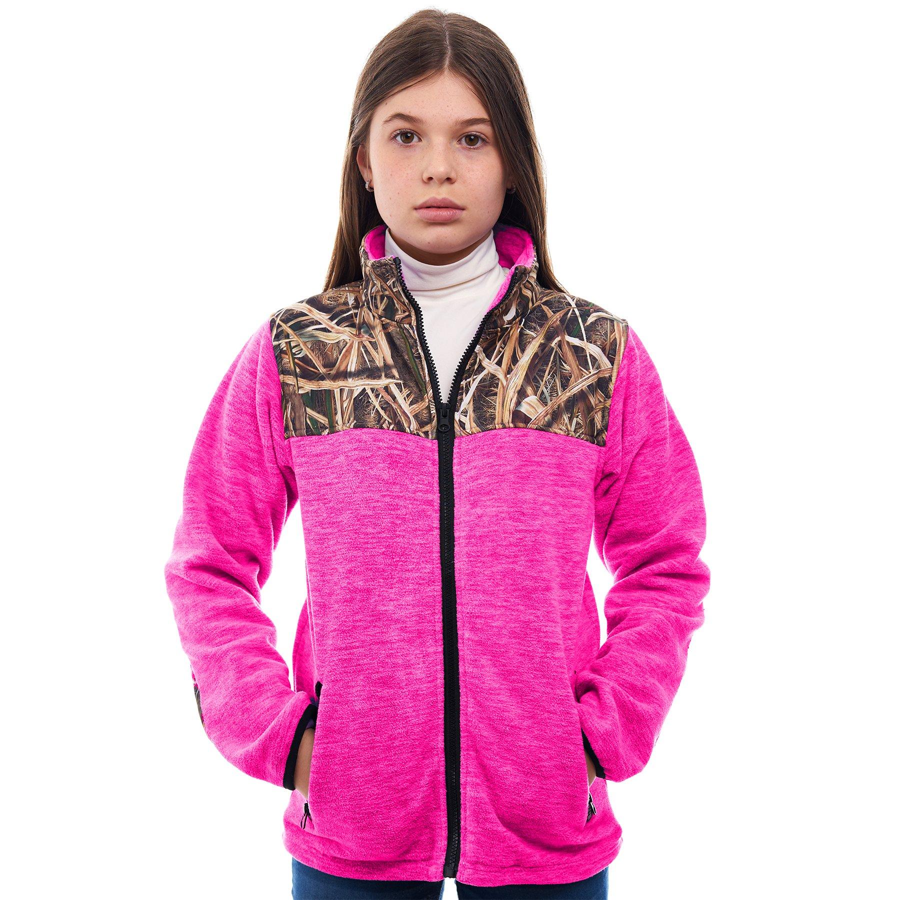 TrailCrest Children's C-Max Full Zip Fleece Jacket, Mossy Oak Shadow Grass Blades Camo