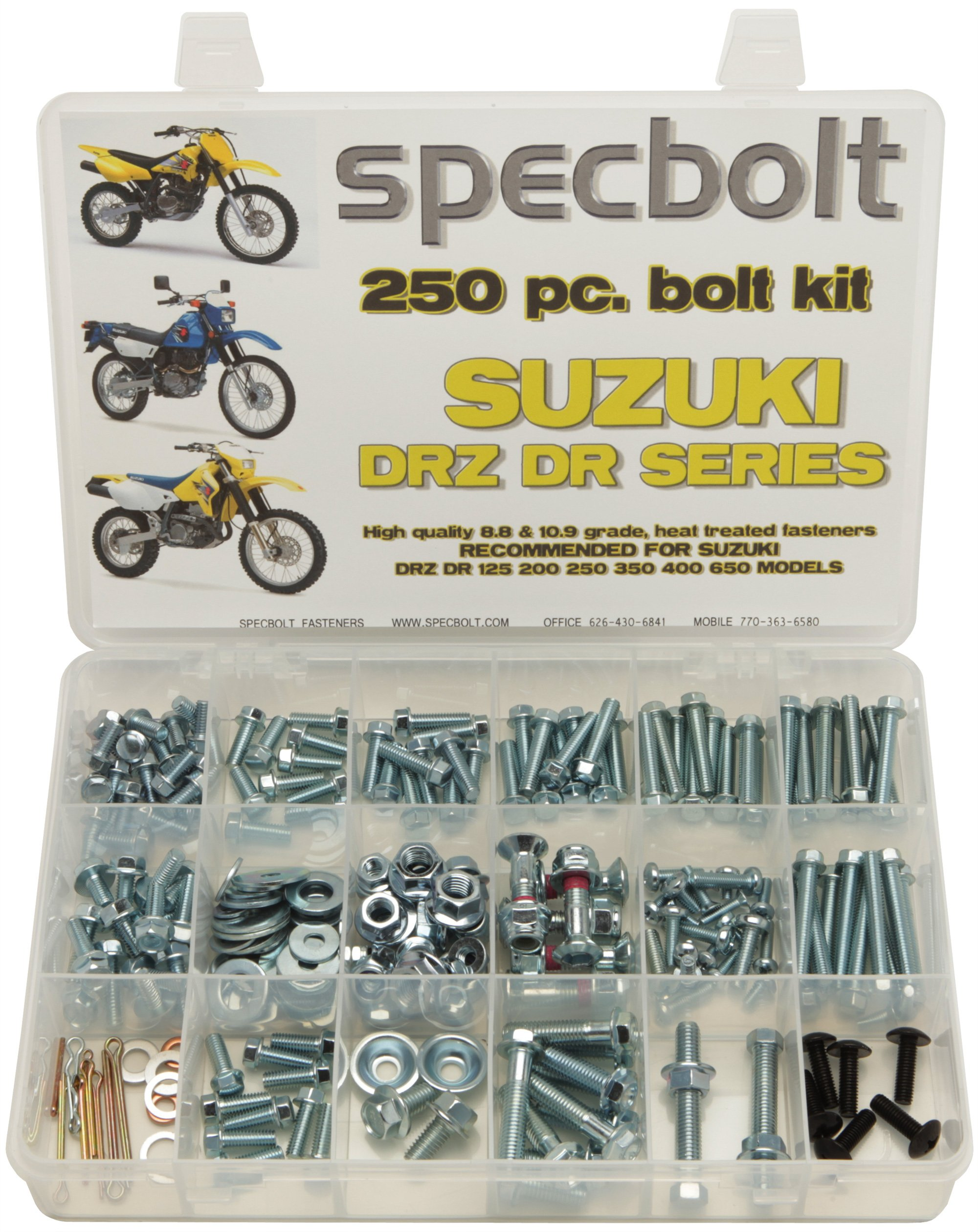 250pc Specbolt Suzuki DRZ DR four stroke Bolt Kit for Maintenance & Restoration of DRZ400 using OEM Spec Fastener DR-Z DR 70 100 110 125 200 250 350 400 650 DRZ SM