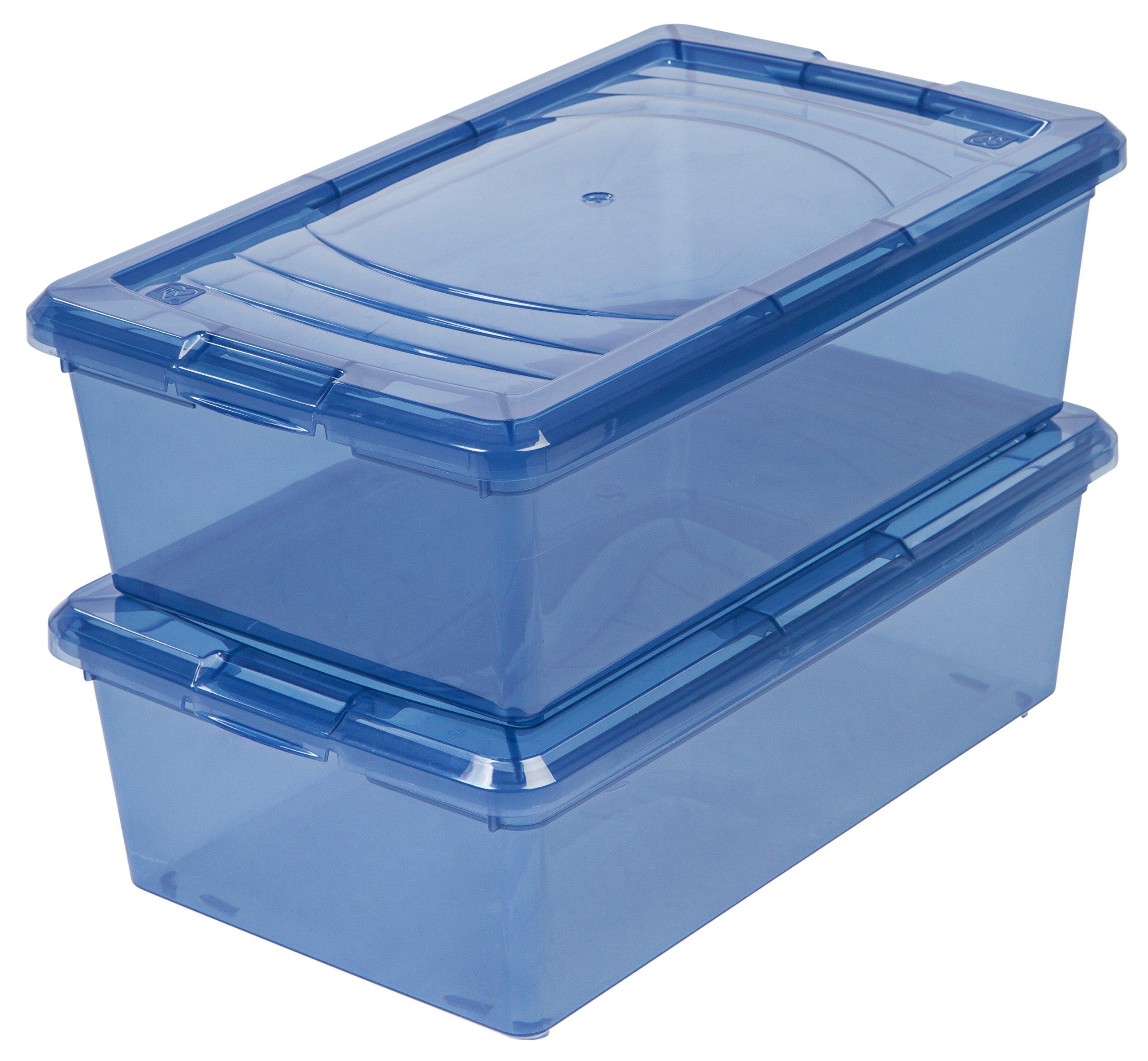IRIS 10-Piece Shoe Storage Box, 6-Quart, Trans Blue