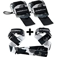 Fitgriff® Wrist Wraps + Lifting Straps (Bundle) - Wrist Straps for Weightlifting, Gym, Crossfit, Strength Training…