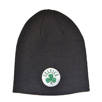 986ba390d51 Boston Celtics Black Shamrock Skull Cap - NBA Cuffless Winter Knit Toque  Beanie Hat