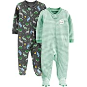 Simple Joys by Carter's Boys' 2-Pack Cotton Footed Sleep and Play, Dino/Stripe 3-6 Months