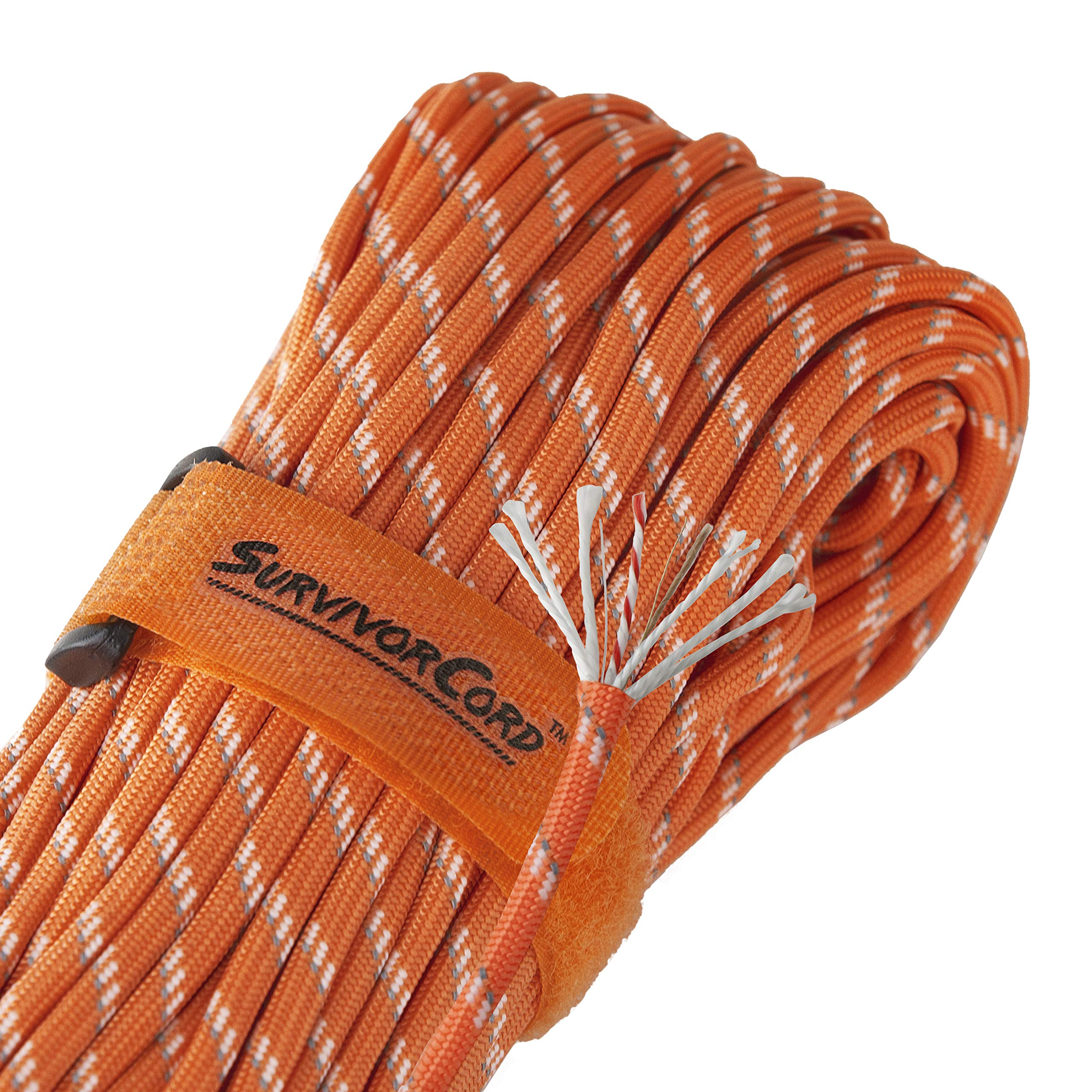 Titan SurvivorCord | Reflective Orange | 103 Feet | Patented Military Type III 550 Paracord/Parachute Cord (3/16'' Diameter) with Integrated Fishing Line, Fire-Starter, and Utility Wire.