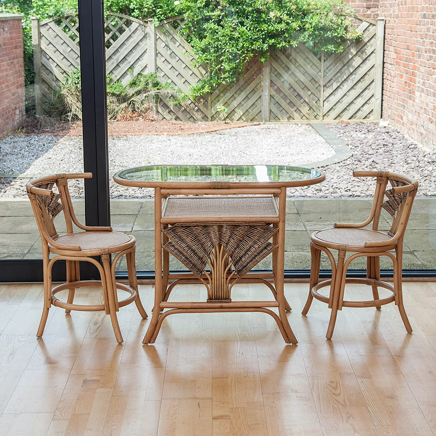 Atlanta Cane Wicker Dining Breakfast Table Chair Set for 2 Alfresia