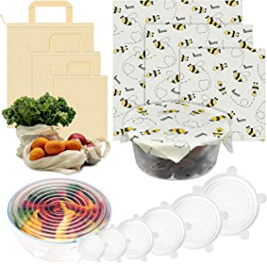 Food Storage and Wraps Set, Includes 3 Organic Mesh Produce Bags, 3 Beeswax Food Wraps, and 6 Silicone Stretch Lids – Carry Groceries and Preserve Leftovers Responsibly