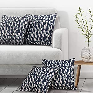 Deconovo Faux Linen Throw Pillow Cover Cases Cushion Covers Printed Loop Pattern for Car Couch 20x20 Inch Navy Blue Set of 4 Case Only No Pillow Insert