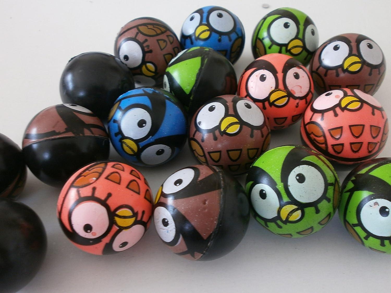 100 Eulen Flummis Springball Hüpfball 35 mm