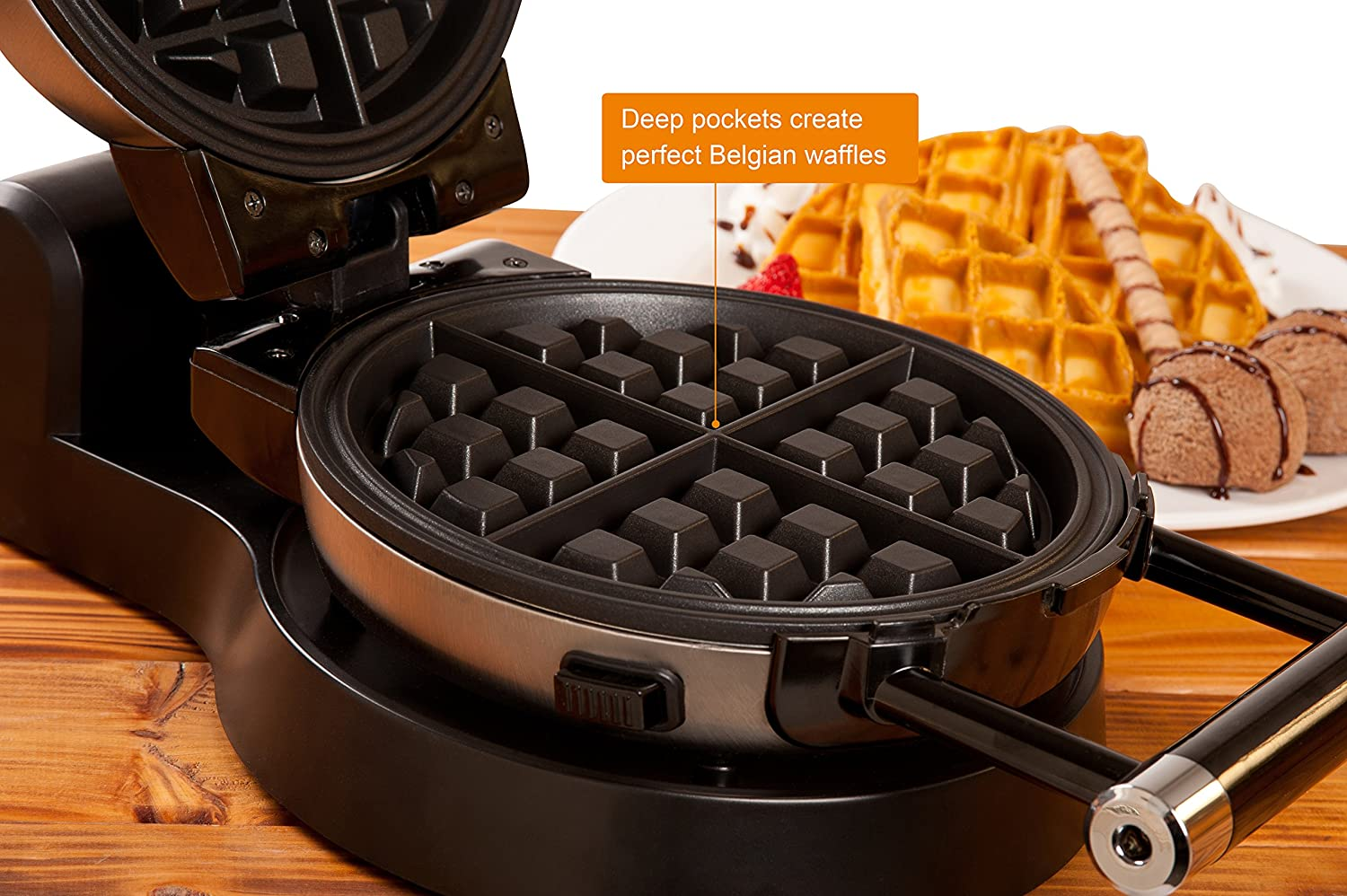 Secura Upgrade Automatic 360 Rotating Belgian Waffle Maker w Removable Plates 2 Year Warranty