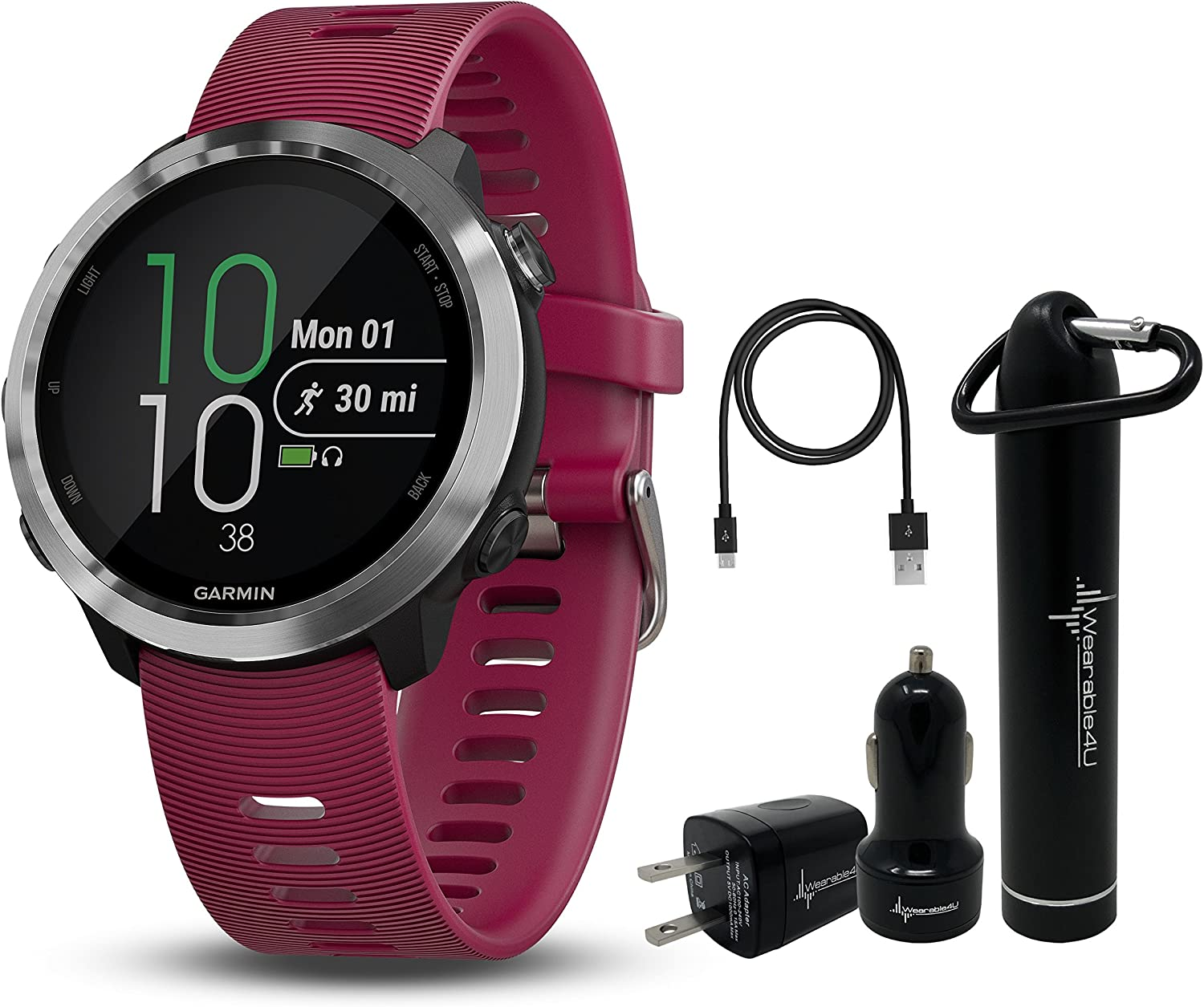 Garmin Forerunner 645 GPS Running Watch with Contactless Payments and Wrist-Based Heart Rate and Wearable4U Ultimate Power Pack Bundle Cerise, Music Edition