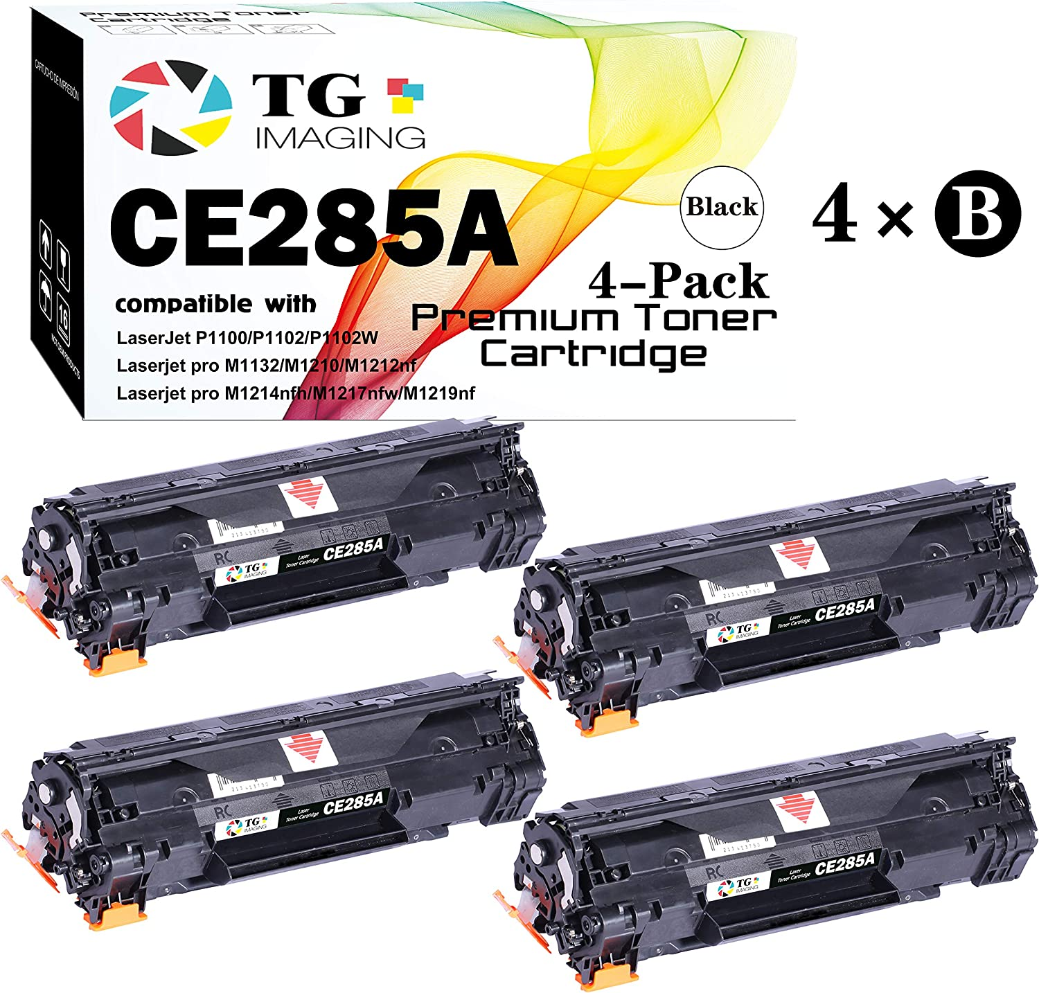 (4 Black) TG Imaging Compatible HP 85A 285A CE285A Toner Cartridge for use in HP Laserjet Pro M1132 M1210 M1212NF M1217NFW P1102 P1102W Printer