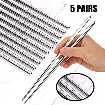 Omia Premium 5 Pairs Of Metal Stainless Steel Chopsticks