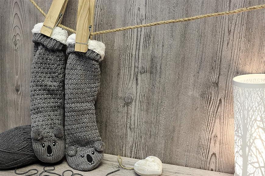 Slipper Fluffy Socks for Women Girls Animal Socks Wool Sherpa Fuzzy Bed Slippers Size 5-9 Non Slip Bed Warmers Mouse Koala Fox Sheep Piggy