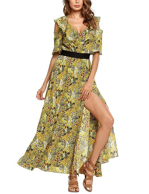 Zeagoo Women Dress Bohemian Cold Shoulder Floral Ruffle Print Flower Side High Split Maxi