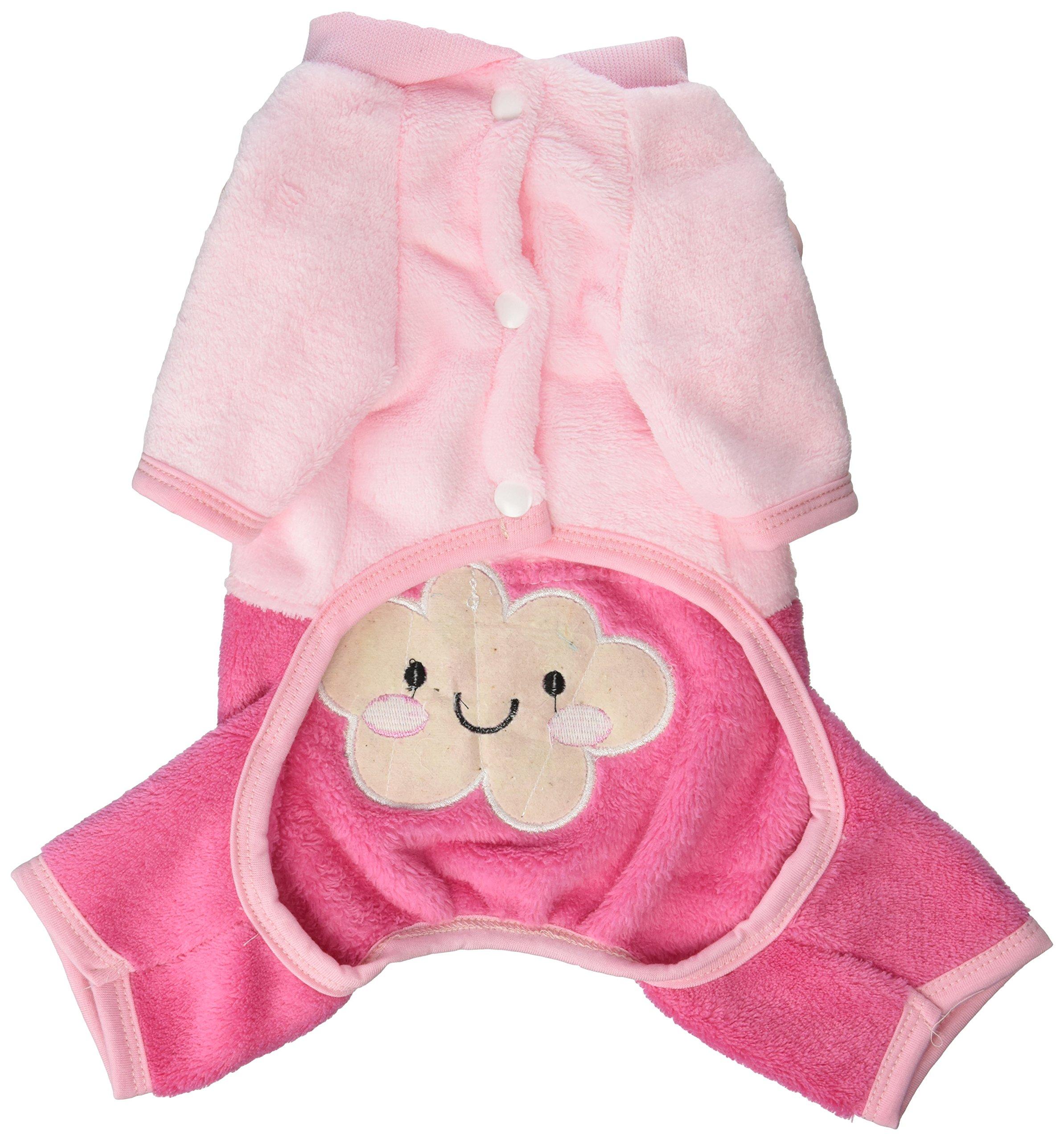 SMALLLEE_LUCKY_STORE Pet Cloud Bear Four Legs Velvet Coat, Pink, Medium