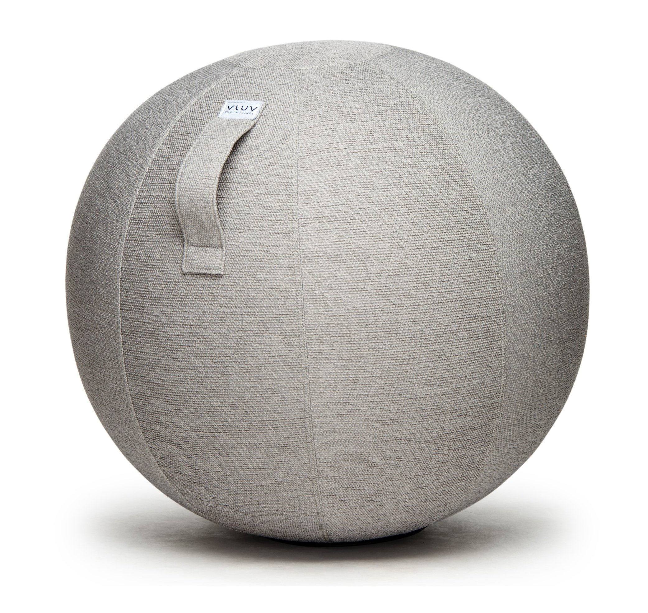 VLUV STOV 25.6'' Premium Quality Self-Standing Sitting Ball with Handle - Home or Office Chair and Exercise Ball for Yoga, Back Stretching, or Gym- Concrete Colored Upholstery Fabric Stability Ball