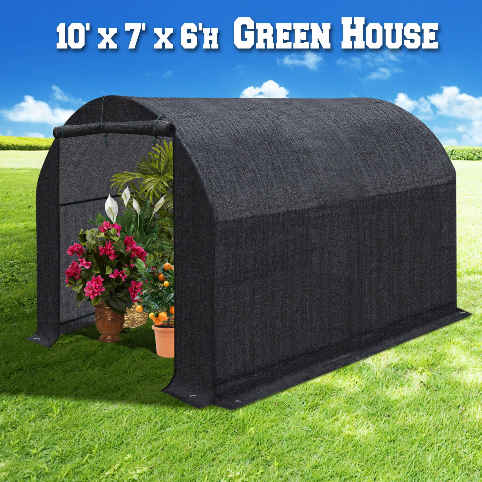 BenefitUSA Large Green House Walk In Garden Greenhouse Outdoor Canopy Gazebo Plant House (10'x7'x6', Black) by BenefitUSA