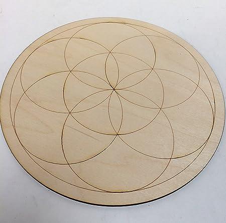 Medium Crystal Grid Plate Seed of Life Sacred Geometry Healing Spiritual  Reiki Metaphysical Wooden Crystal Grid