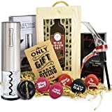VINAKAS Wine Gift Set - Includes Stainless Steel Electric Wine Opener, Wine Aerator, 6 Wine Stoppers and Beautiful Wooden Box