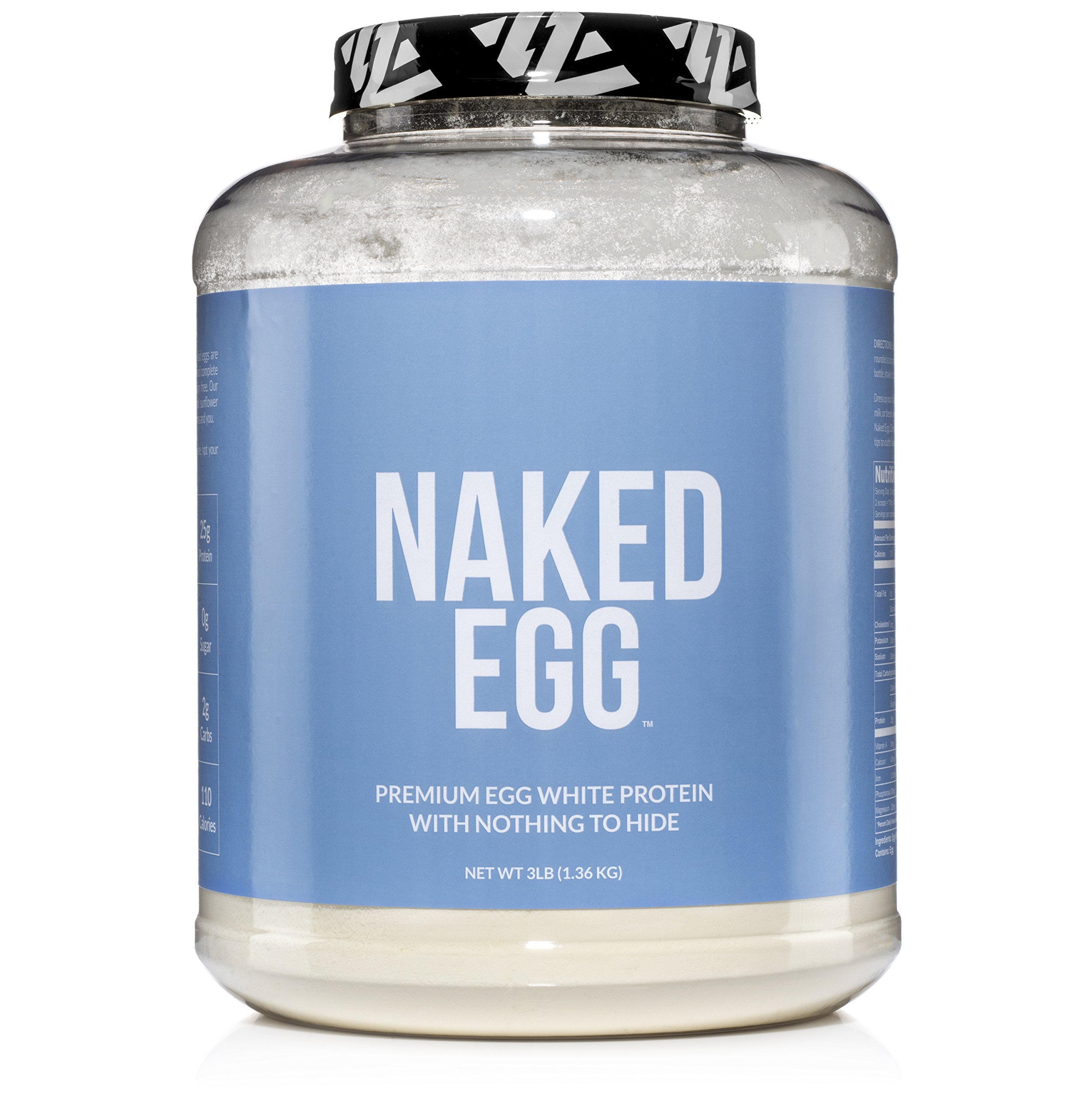 NAKED EGG - 3LB Non-GMO Egg White Protein Powder from US Farms - Bulk, No Additives, Paleo, Dairy Free, Gluten Free, Soy Free - 25g Protein, 44 Servings by NAKED nutrition