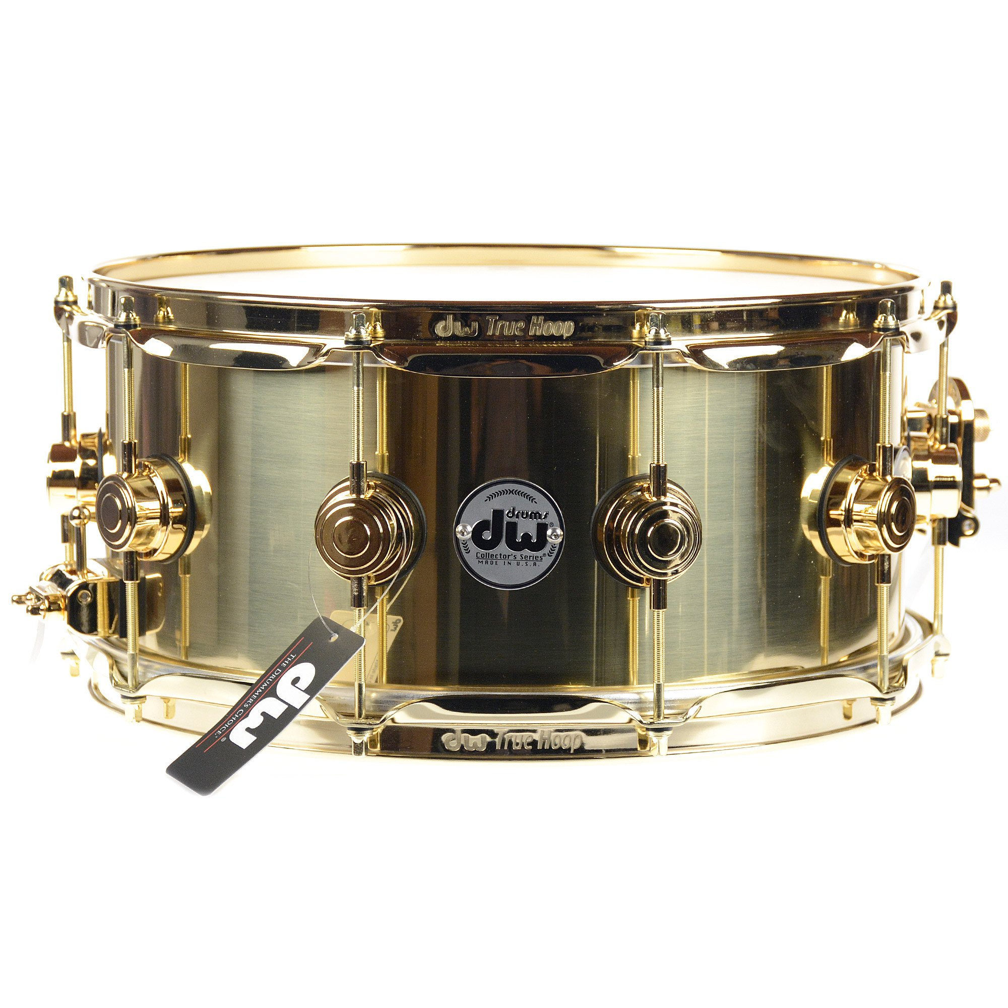 DW 6.5X14 Brass Polished Snare Drum w/ Gold Hardware