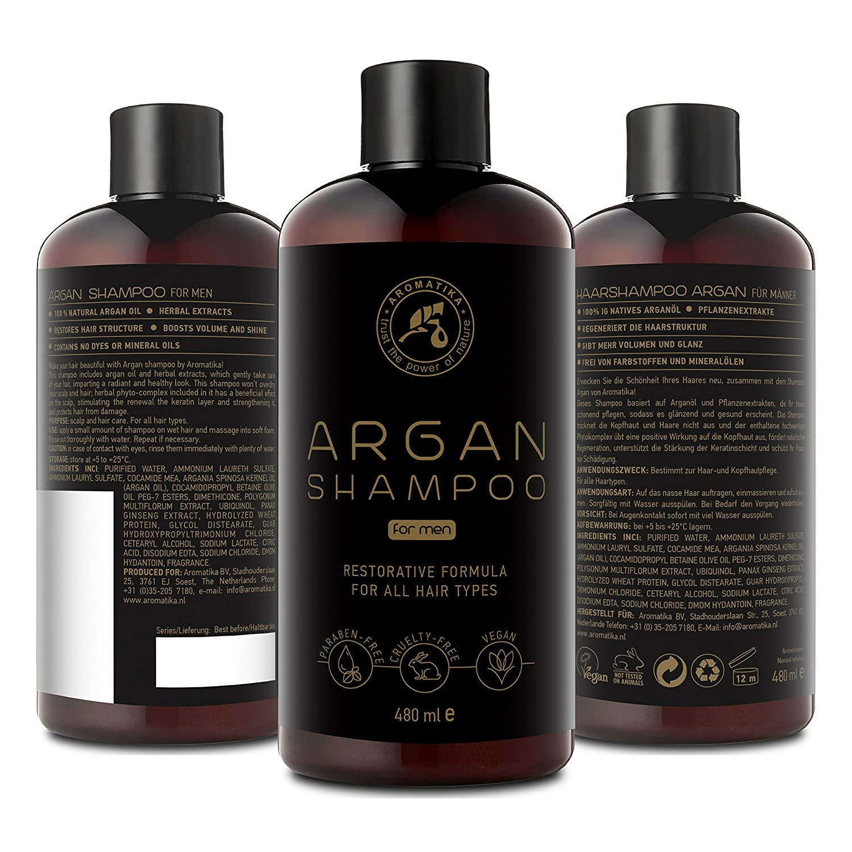 Argan Oil Champu para Hombres 480ml - Shampoo con Aceite de Argán Natural y Extractos de Hierbas - para Todo Tipo de Cabello - Fórmula Reparadora Especial ...
