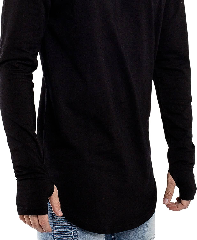 Oversized Curved Hem Sweater L//S Long Tee S M L XL Blackskies Round Long Sleeve Basic Mens Longline T-Shirt