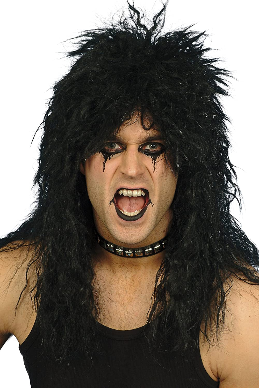 Smiffy's Hard Rocker Wig - Black for Men. Highly rated by customers. Ideal for creating an 80s metal/rock look.