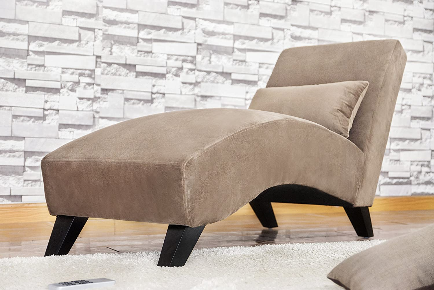 Merax luxurious fabric lounge sofa chaise soft sleeper bed for Brown chaise lounge sofa
