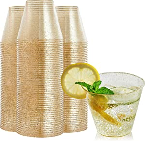 FOCUSLINE 100 Pack Gold Glitter Plastic Cups 9 oz Clear Plastic Cups Tumblers, Fancy Disposable Hard Plastic Cups with Gold Glitter for Wedding Cups Elegant Party Cups