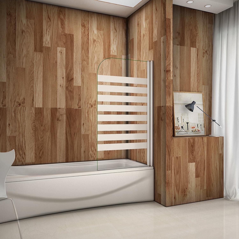 80x140cm Badewannenaufsatz Duschabtrennung Rechts Duschwand für Badewanne 6mm Satiniert Sicherheitsglas mit Nanobeschichtung