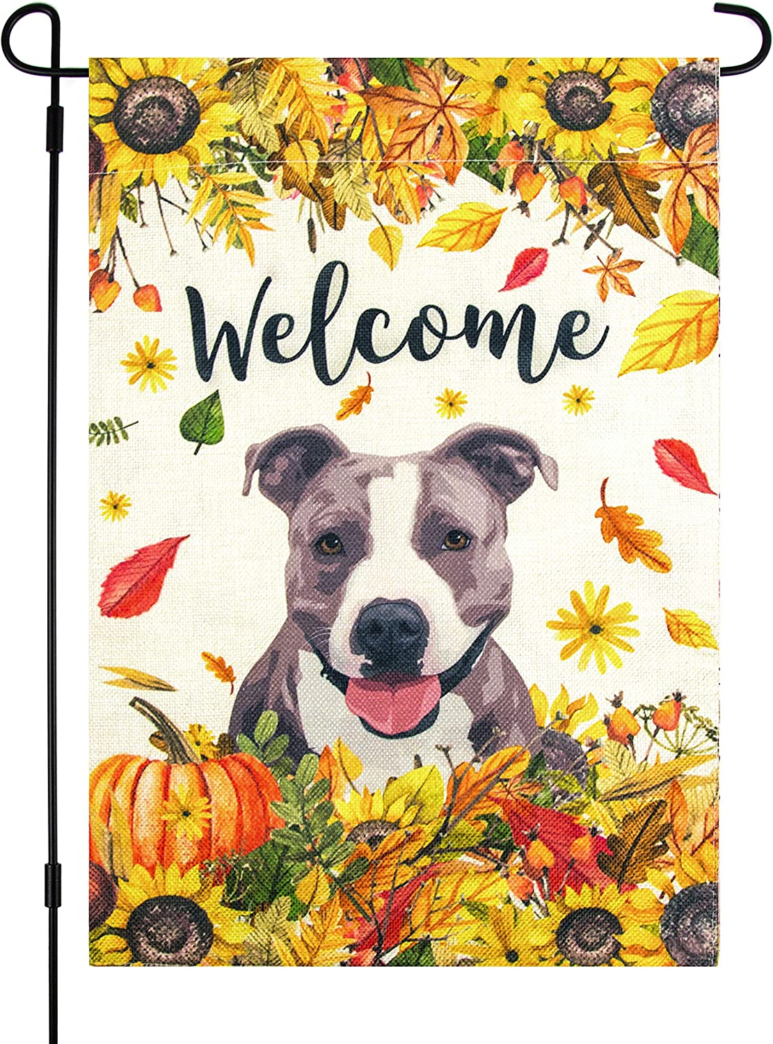 Marmie Fall Garden Flag with Pitbull Dog, 12 x 18 Inch, Welcome, Gray American Pit Bull Terrier, Staffordshire Bull Terrier, Autumn, Halloween, October, Sunflowers, Thanksgiving Decor, Yard Flag