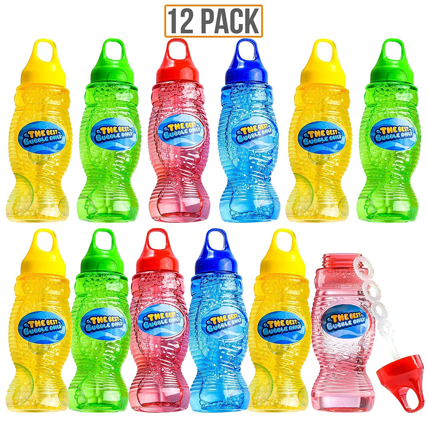 Prextex 12 Pack 8 Oz Bubble Solution with Wand Bubble Gun Refill Kids Outdoor Toys for Pool Birthday Wedding Bubble Party Favors